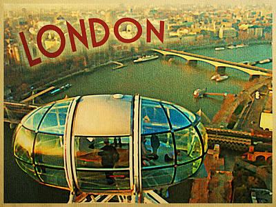 London Eye Digital Art - Vintage London Eye Sky View by Flo Karp