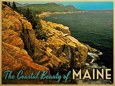 Maine Coast Digital Art - Vintage Maine Coast by Flo Karp