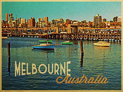 Vintage Melbourne Australia Harbor Print by Flo Karp