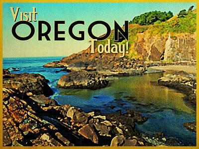 Vintage Oregon Coastline Print by Flo Karp