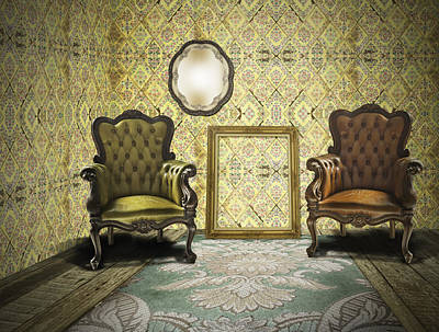 Empty Chairs Photograph - Vintage Room Interior by Setsiri Silapasuwanchai
