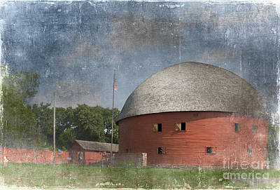 Vintage Round Barn Print by Betty LaRue