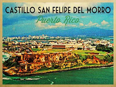 Puerto Rico Digital Art - Vintage San Juan Puerto Rico by Flo Karp