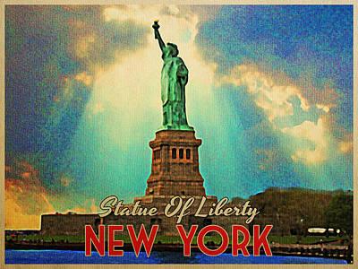 Vintage Statue Of Liberty Nyc Print by Flo Karp