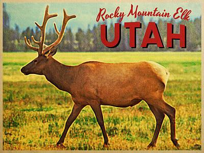 Vintage Utah Elk Print by Flo Karp
