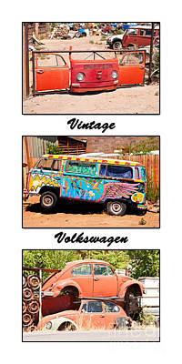 Vintage Volkswagen Triptych Print by Bob and Nancy Kendrick