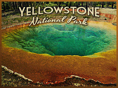 Yellowstone National Park Digital Art - Vintage Yellowstone National Park by Flo Karp