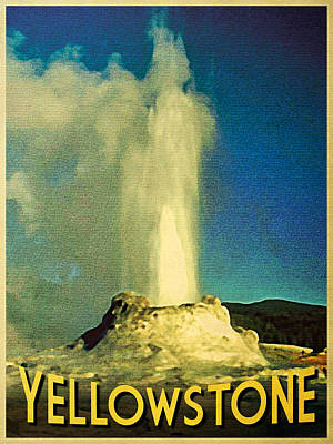 Yellowstone National Park Digital Art - Vintage Yellowstone Old Faithful by Flo Karp