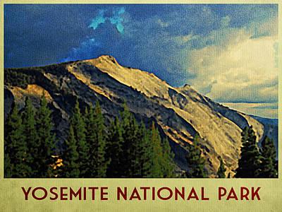 Yosemite Digital Art - Vintage Yosemite Drama by Flo Karp