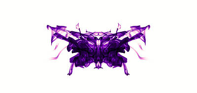 Smoke Photograph - Violet Abstract Butterfly by Sumit Mehndiratta
