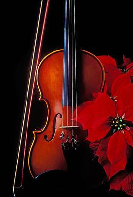 Violin Bows Violin Bows Photograph - Violin And Poinsettia by Garry Gay