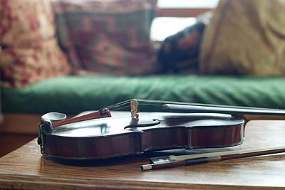 Violin Bows Violin Bows Photograph - Violin At Cottage by Madelyn Mulvaney