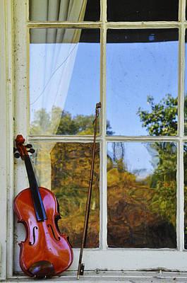 Violin Digital Art - Violin On A Window Sill by Bill Cannon