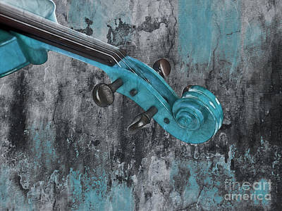 Violinelle - Turquoise 04d2 Print by Variance Collections