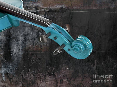 Violinelle - Turquoise 05a2 Print by Variance Collections