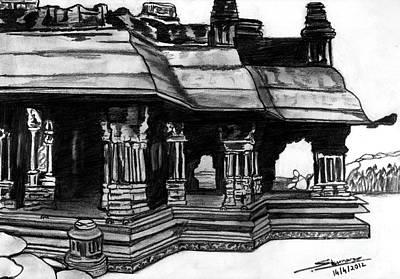 Shashi Kumar Drawing - Vittala Temple Hampi by Shashi Kumar