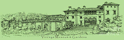 Vizcaya Museum In Olive Green Print by Adendorff Design