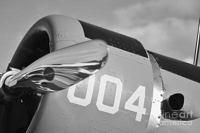 2011 Vna Stuart Airshow Wibada Photograph - Vultee Bt-13 Valiant In Bw by Lynda Dawson-Youngclaus
