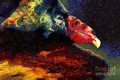 Vulture Digital Art - Vulture In Van Gogh.s Dream . 40d8879 by Wingsdomain Art and Photography