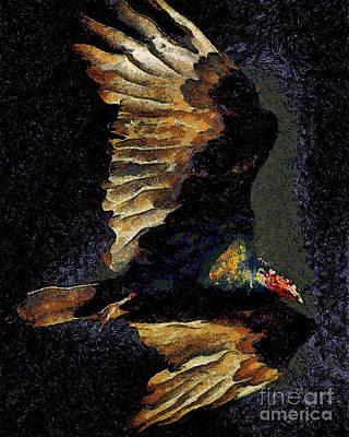 Vulture Digital Art - Vulture In Van Gogh.s Dream Returns . 40d8879 by Wingsdomain Art and Photography