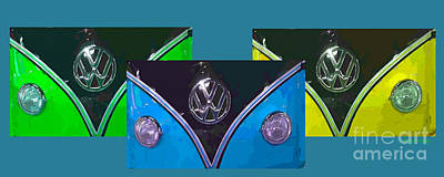 Hippie Van Photograph - Vw Triptych 1 by Cheryl Young