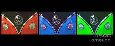 Vw Triptych 2 Print by Cheryl Young