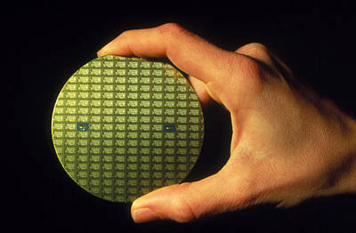 Integrated Photograph - Wafter Of Silicon Chips by David Parker