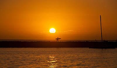 Waikiki Photograph - Waikiki Sunset by Mike Reid