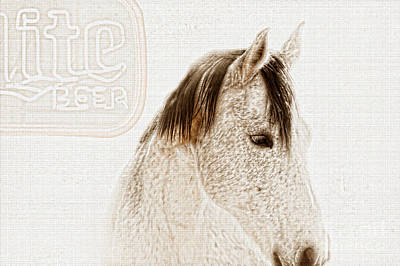 Quarter Horse Digital Art - Waiting For A Beer by Betty LaRue