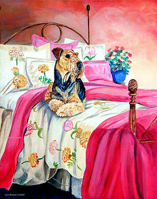 Bed Painting - Waiting For Mom Airedale Terrier by Lyn Cook