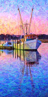 Water Vessels Digital Art - Waiting In The Harbor by Betsy C Knapp