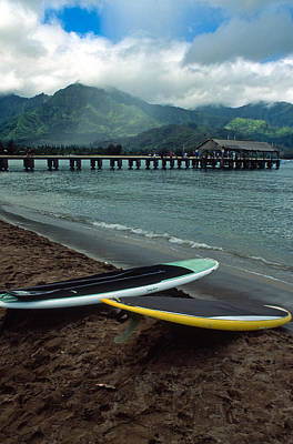Waiting To Paddle In Hanalei Bay Print by Kathy Yates