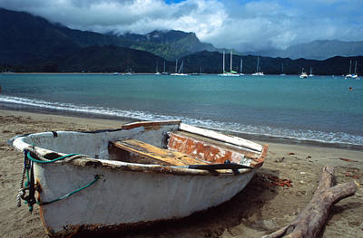 Waiting To Row In Hanalei Bay Print by Kathy Yates