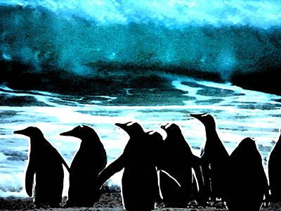 Penquins Painting - Waiting To Take Action by Colette V Hera  Guggenheim