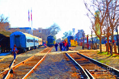 Walking On The Train Tracks In Old Sacramento California . Painterly Print by Wingsdomain Art and Photography