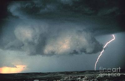 Wall Cloud With Lightning Print by Science Source