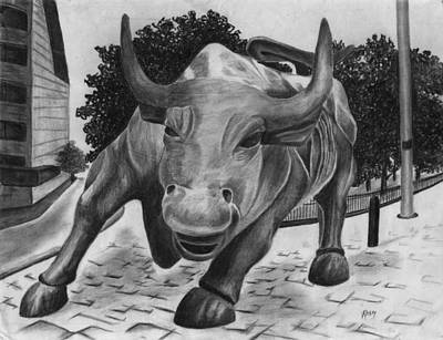 Occupy Drawing - Wall Street Bull by Vic Ritchey