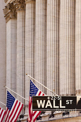 Buy Sell Photograph - Wall Street Columns by Brian Jannsen