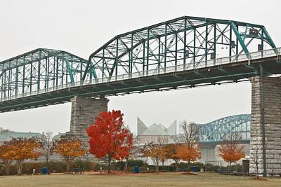 Riverwalk Photograph - Walnut Street Bridge by Tom and Pat Cory