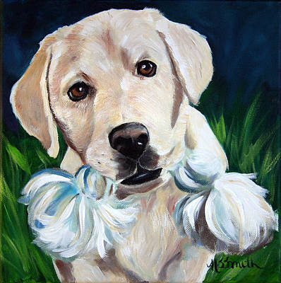 Puppy Painting - Wanna Play by Mary Sparrow