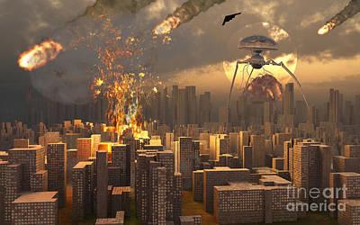 Collision Of Worlds Digital Art - War Of The Worlds by Mark Stevenson