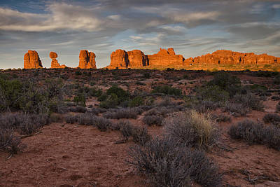Rocks Photograph - Warm Glow Over Arches by Andrew Soundarajan