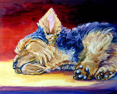 Yorkie Painting - Warm Spot - Yorkshire Terrier by Lyn Cook