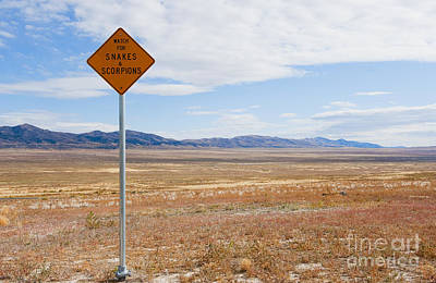 Stop Sign Photograph - Warning Sign At Desert Rest Stop by Thom Gourley/Flatbread Images, LLC
