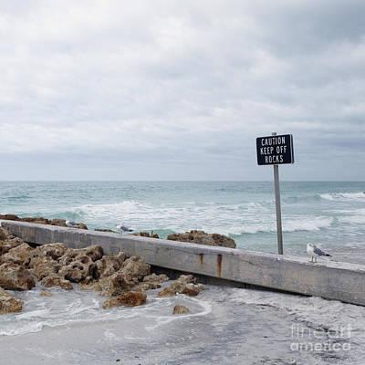 Warning Sign At The Beach Print by Skip Nall