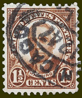 Warren G Harding Postage Stamp Print by James Hill