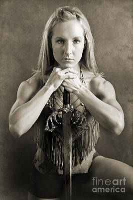 Duo Tone Photograph - Warrior Woman by Cindy Singleton