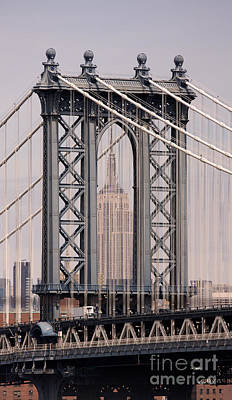 Washington Bridge And Empire State Building Print by Holger Ostwald