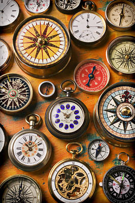 Watches And Compasses  Print by Garry Gay