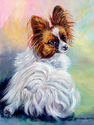 Watchful - Papillon Dog Print by Lyn Cook